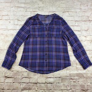 Express Plaid Blouse Red Blue White Sheer Preppy S